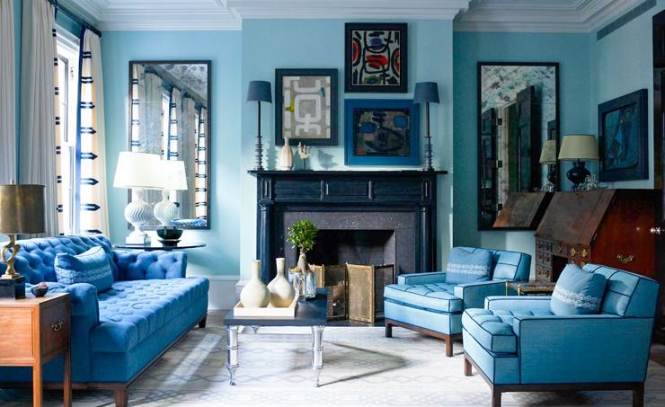 blaue Farbe der Wände